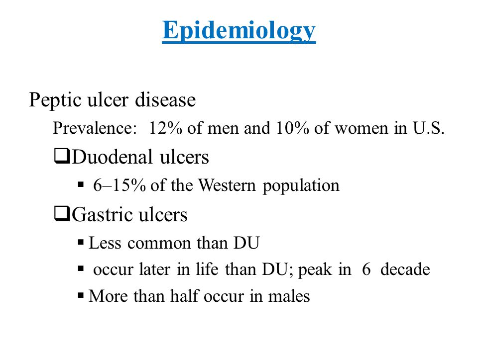 Epidemiology Peptic ulcer disease Duodenal ulcers Gastric ulcers