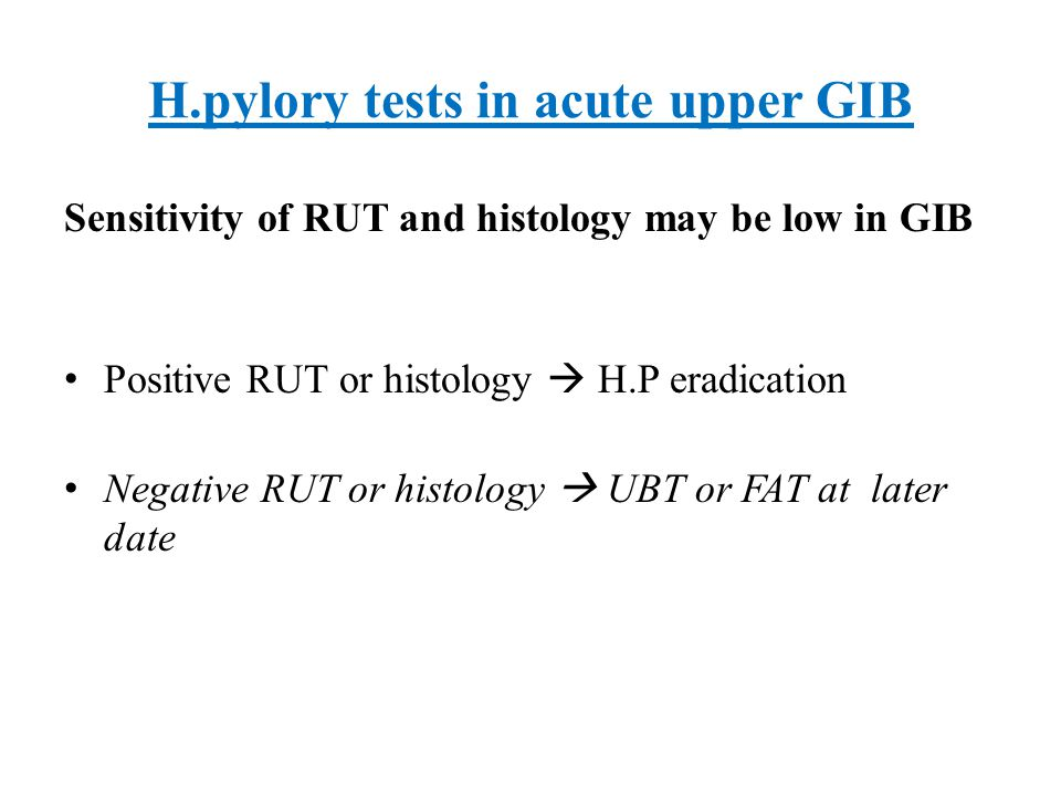 H.pylory tests in acute upper GIB