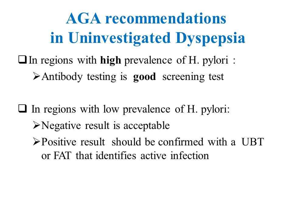 AGA recommendations in Uninvestigated Dyspepsia