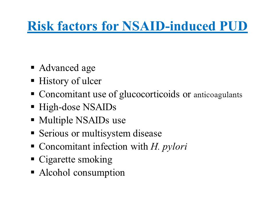 Risk factors for NSAID-induced PUD