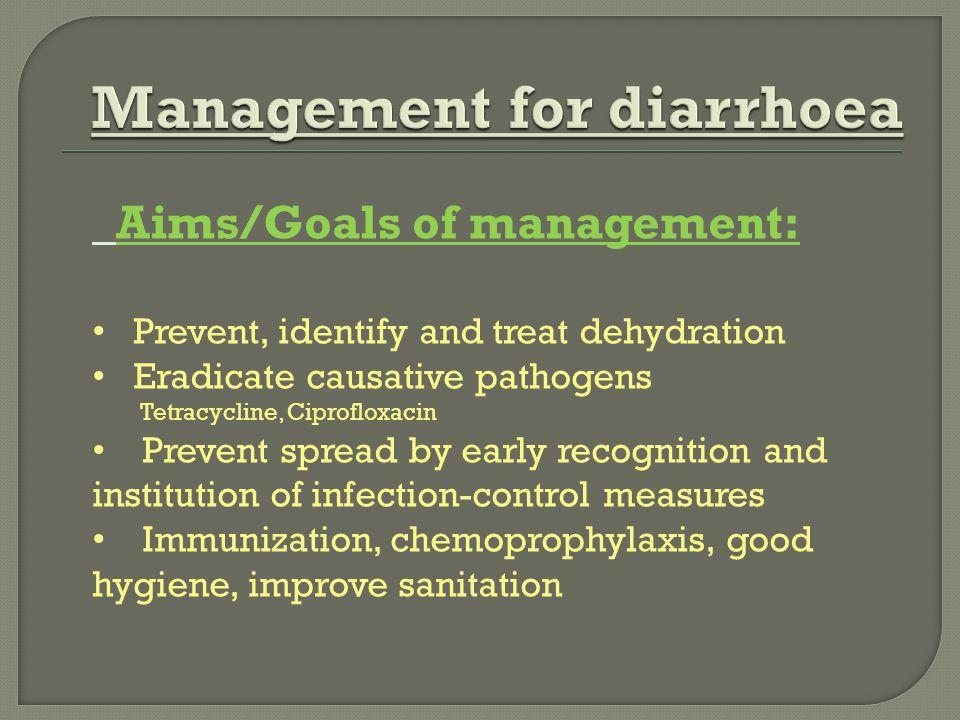 Management for diarrhoea