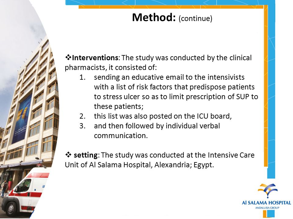 Method: (continue) Interventions: The study was conducted by the clinical pharmacists, it consisted of: