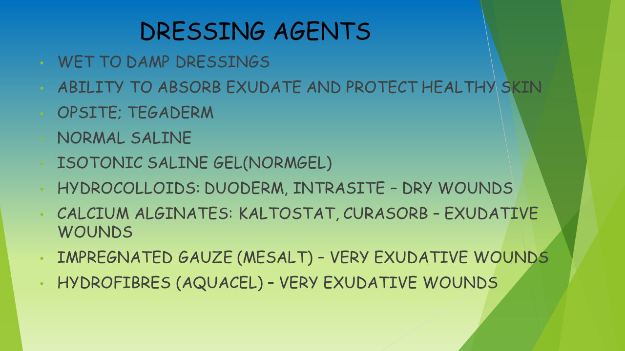 DRESSING AGENTS WET TO DAMP DRESSINGS