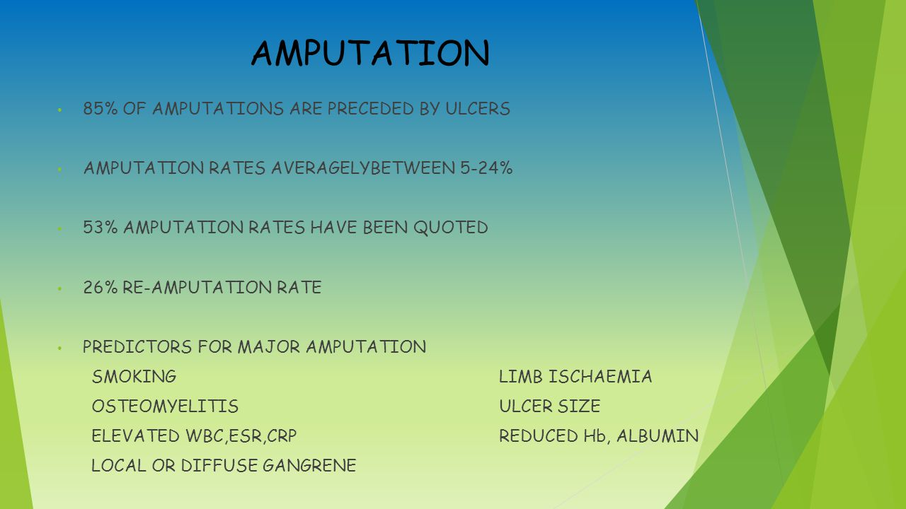 AMPUTATION 85% OF AMPUTATIONS ARE PRECEDED BY ULCERS