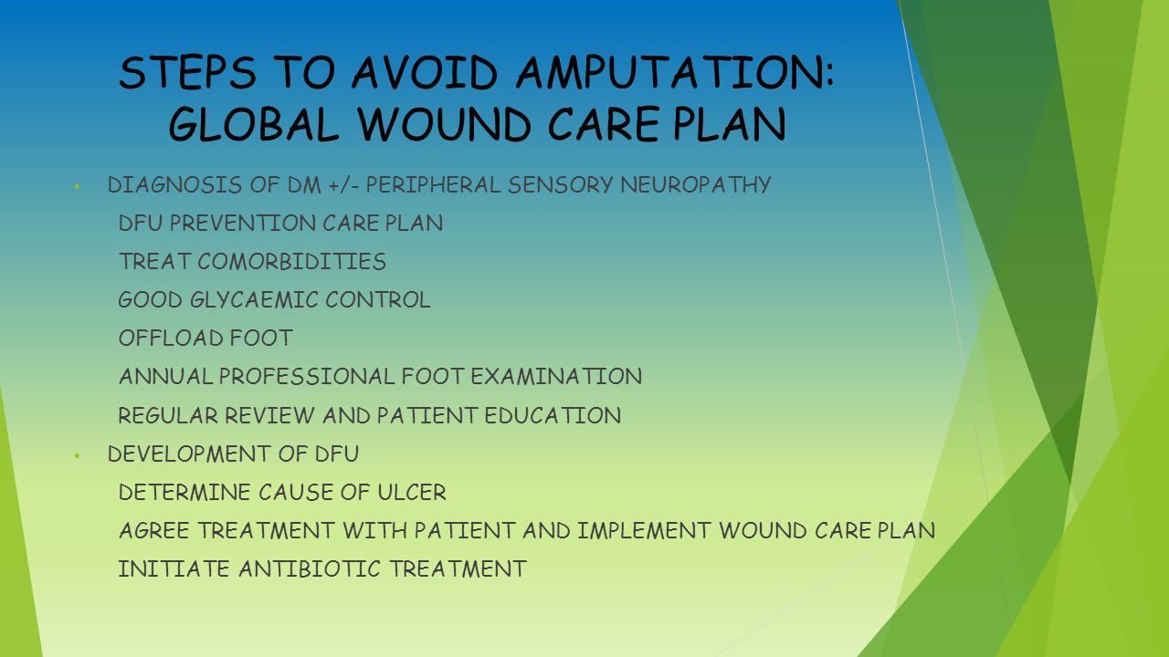 STEPS TO AVOID AMPUTATION: GLOBAL WOUND CARE PLAN