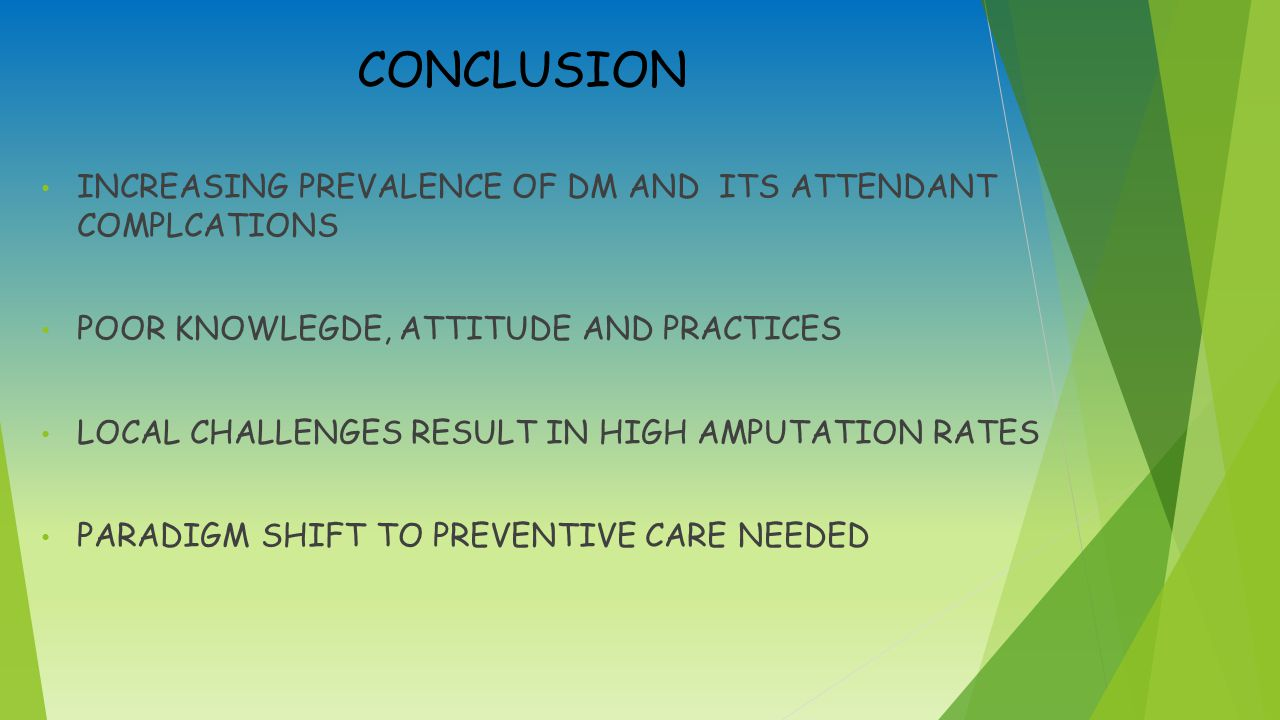 CONCLUSION INCREASING PREVALENCE OF DM AND ITS ATTENDANT COMPLCATIONS