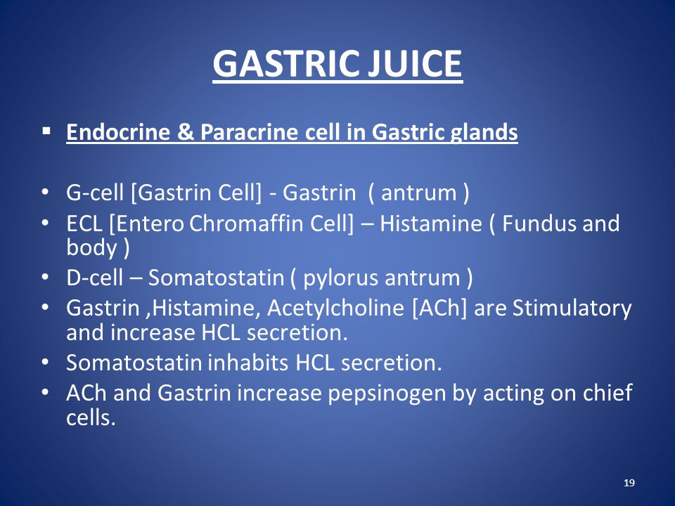 GASTRIC JUICE Endocrine & Paracrine cell in Gastric glands