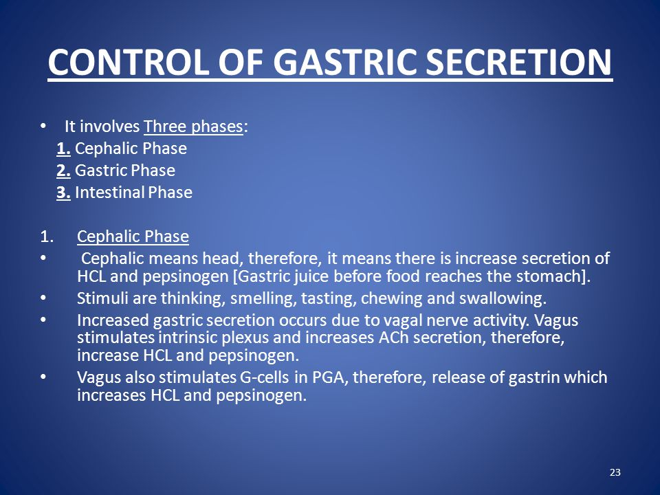CONTROL OF GASTRIC SECRETION