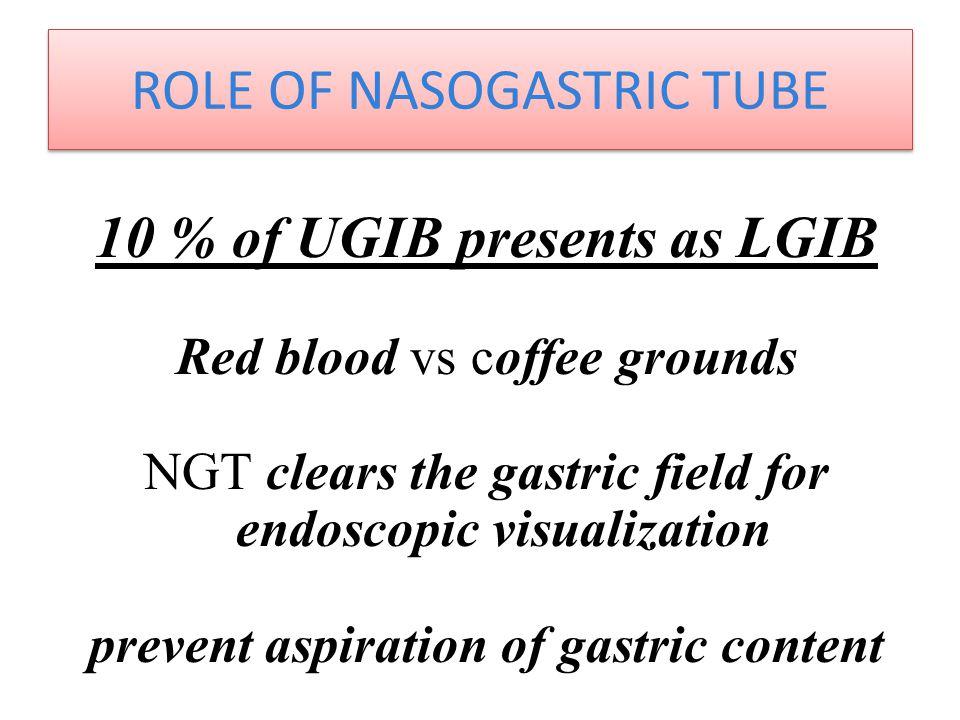 ROLE OF NASOGASTRIC TUBE