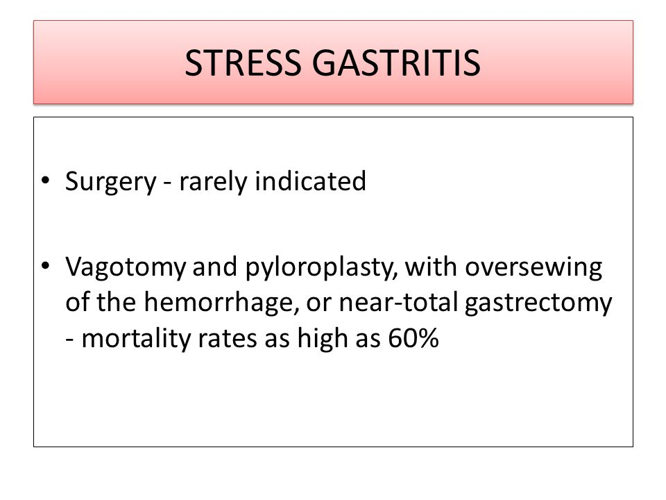STRESS GASTRITIS Surgery - rarely indicated