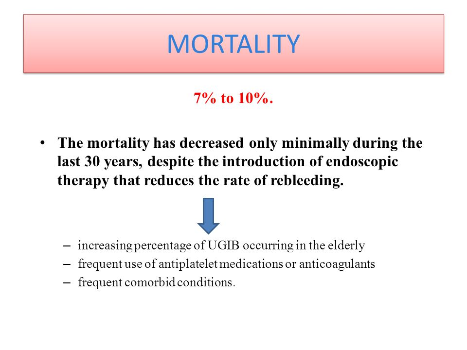 MORTALITY 7% to 10%.