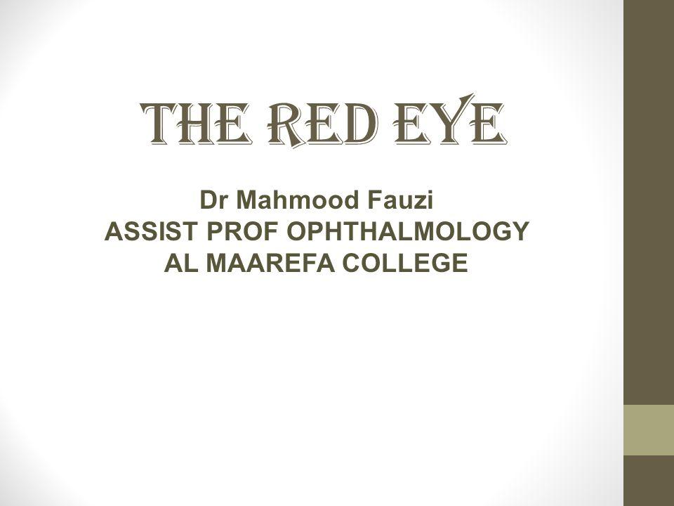 Dr Mahmood Fauzi ASSIST PROF OPHTHALMOLOGY AL MAAREFA COLLEGE