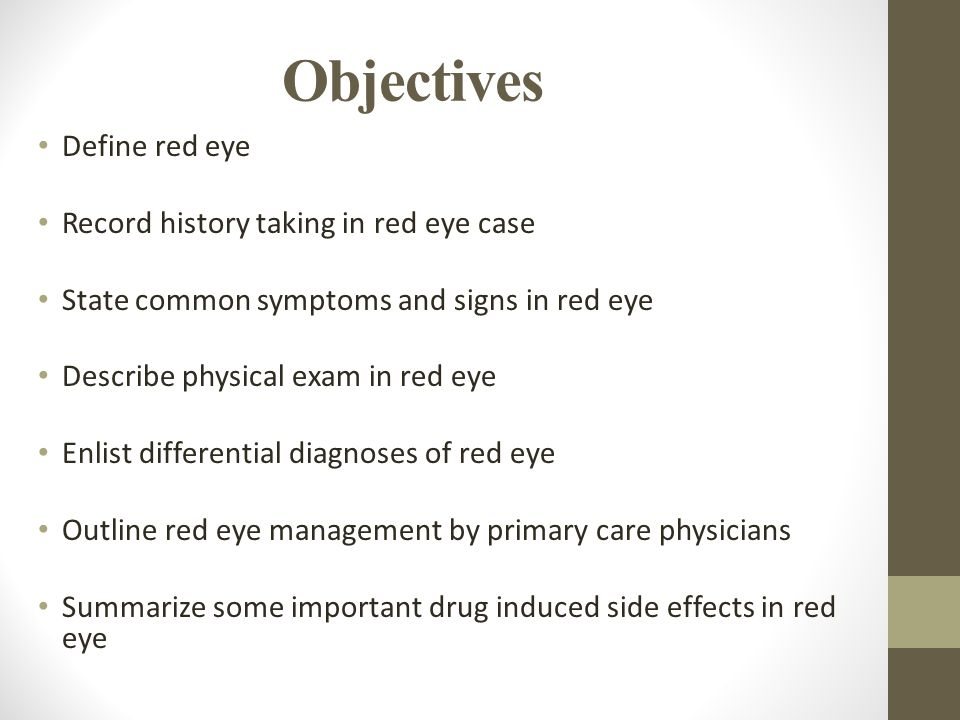 Objectives Define red eye Record history taking in red eye case