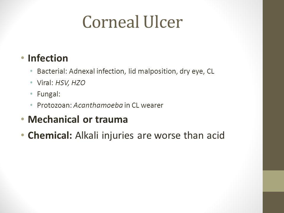 Corneal Ulcer Infection Mechanical or trauma