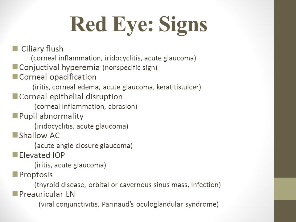 Red Eye: Signs Ciliary flush Conjuctival hyperemia (nonspecific sign)