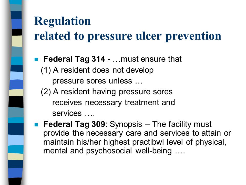 Regulation related to pressure ulcer prevention