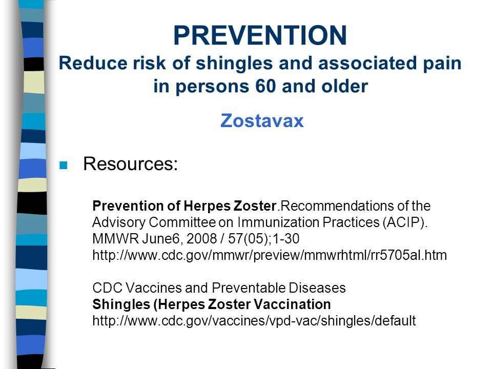 PREVENTION Reduce risk of shingles and associated pain in persons 60 and older