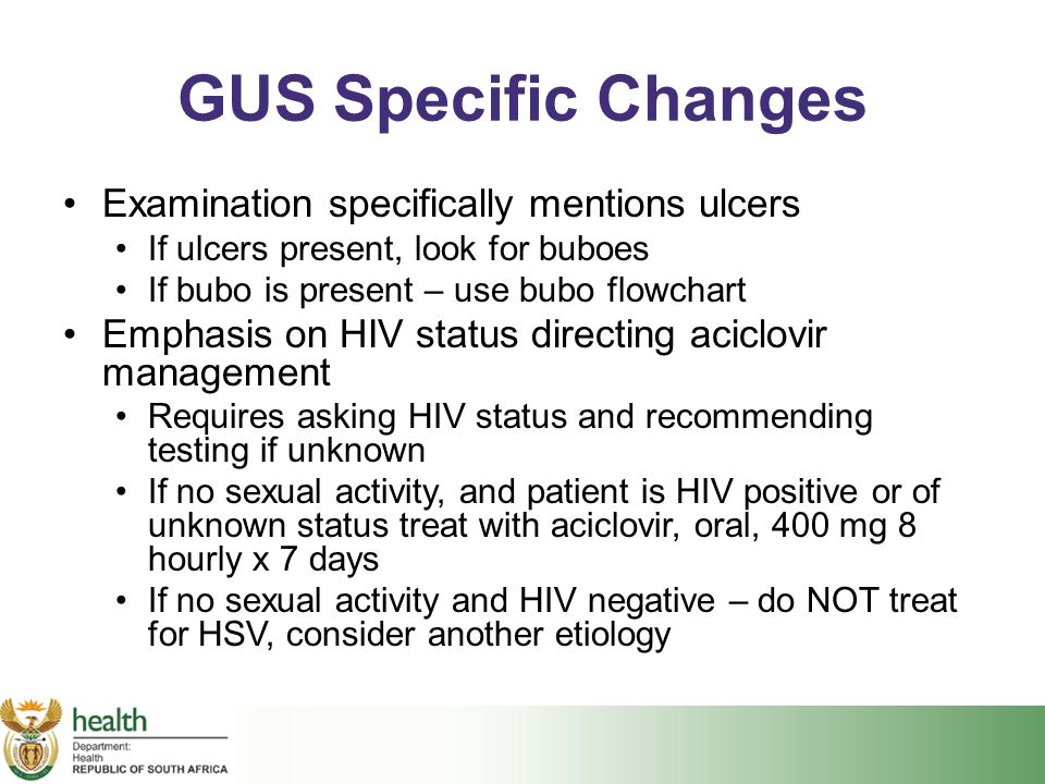GUS Specific Changes Examination specifically mentions ulcers