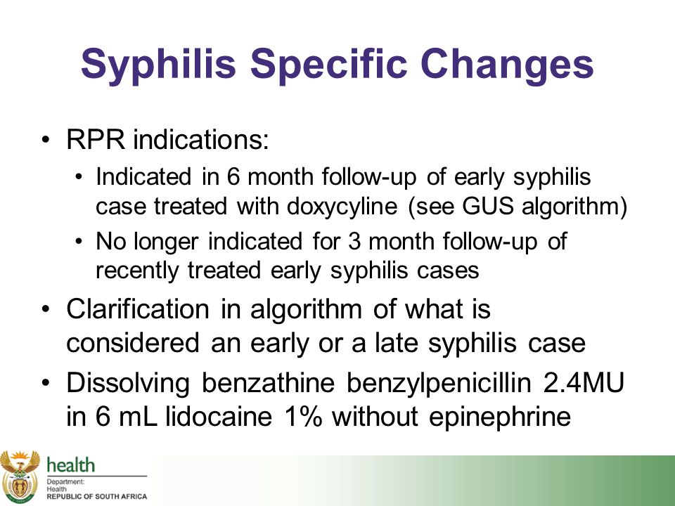 Syphilis Specific Changes