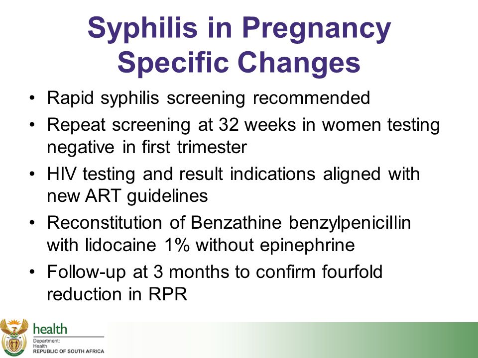 Syphilis in Pregnancy Specific Changes