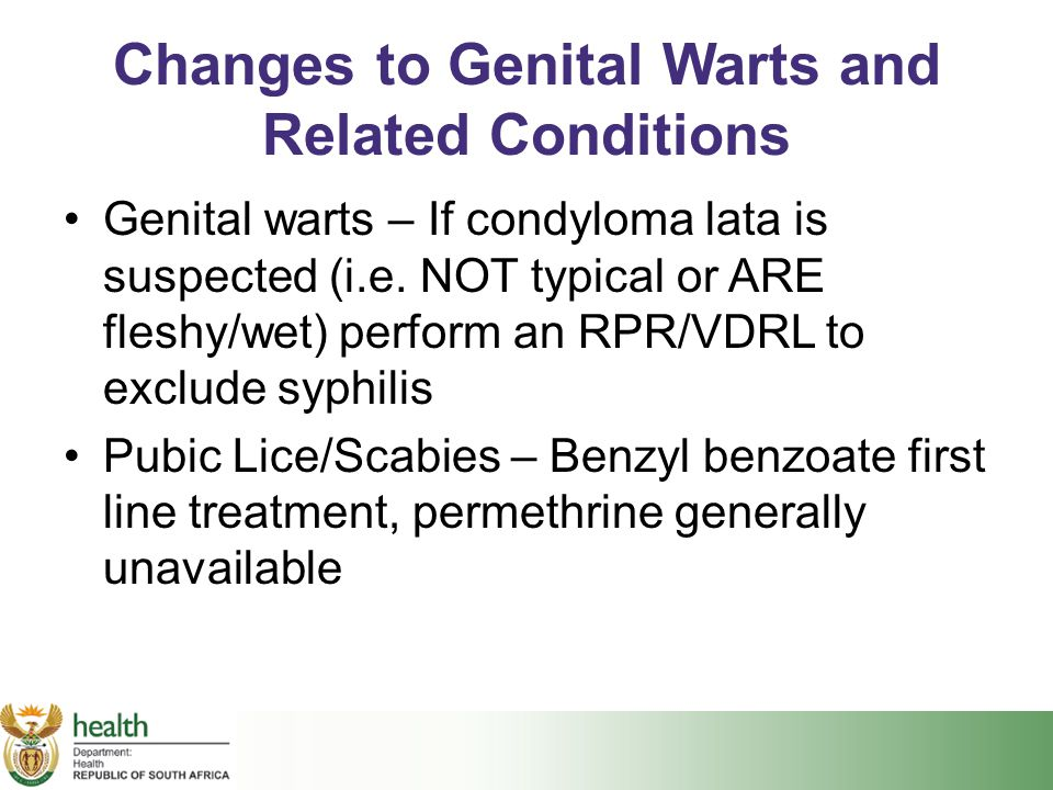 Changes to Genital Warts and Related Conditions