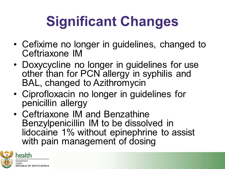 Significant Changes Cefixime no longer in guidelines, changed to Ceftriaxone IM.