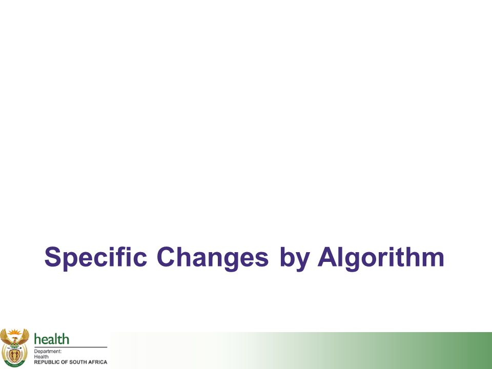 Specific Changes by Algorithm