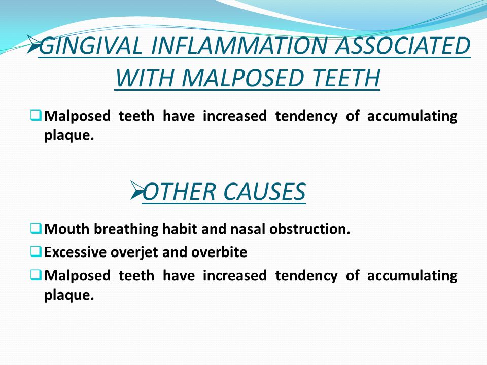GINGIVAL INFLAMMATION ASSOCIATED WITH MALPOSED TEETH