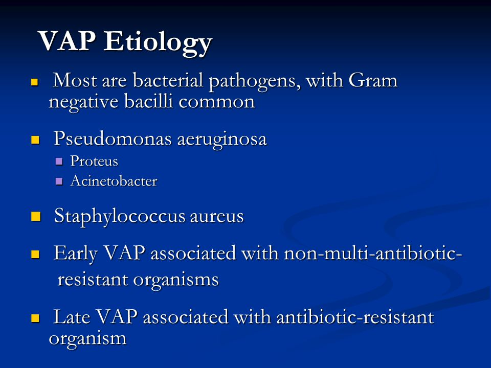 VAP Etiology Staphylococcus aureus resistant organisms