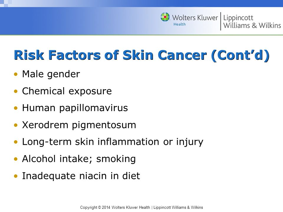Risk Factors of Skin Cancer (Cont'd)