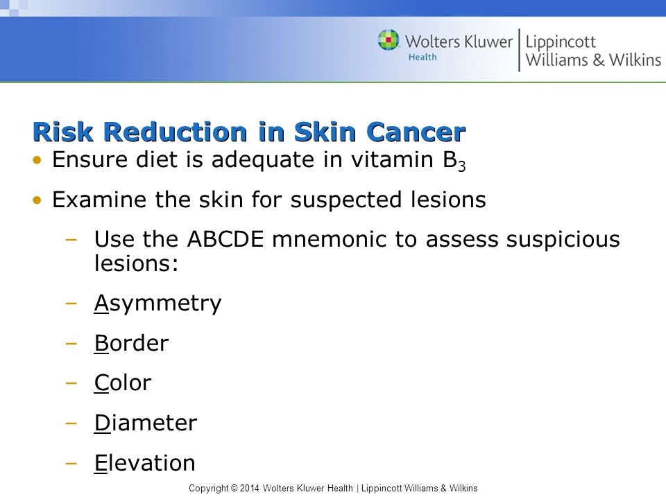 Risk Reduction in Skin Cancer