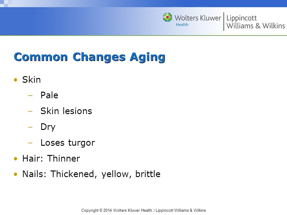 Common Changes Aging Skin Pale Skin lesions Dry Loses turgor