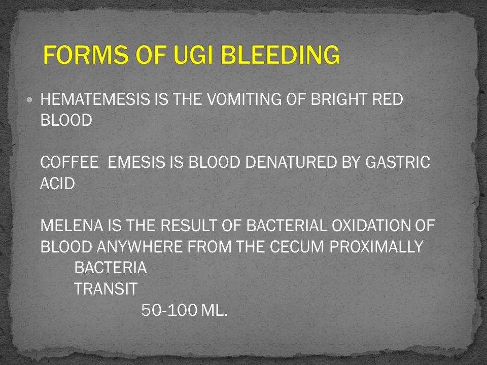 FORMS OF UGI BLEEDING