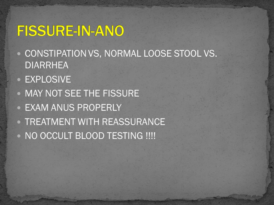FISSURE-IN-ANO CONSTIPATION VS, NORMAL LOOSE STOOL VS. DIARRHEA