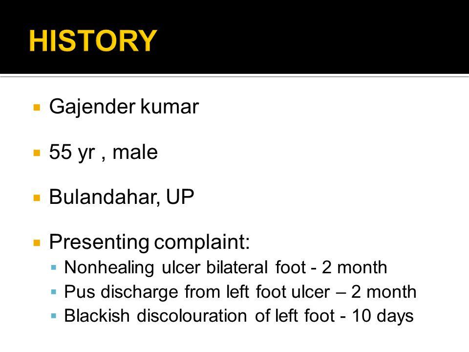 HISTORY Gajender kumar 55 yr , male Bulandahar, UP
