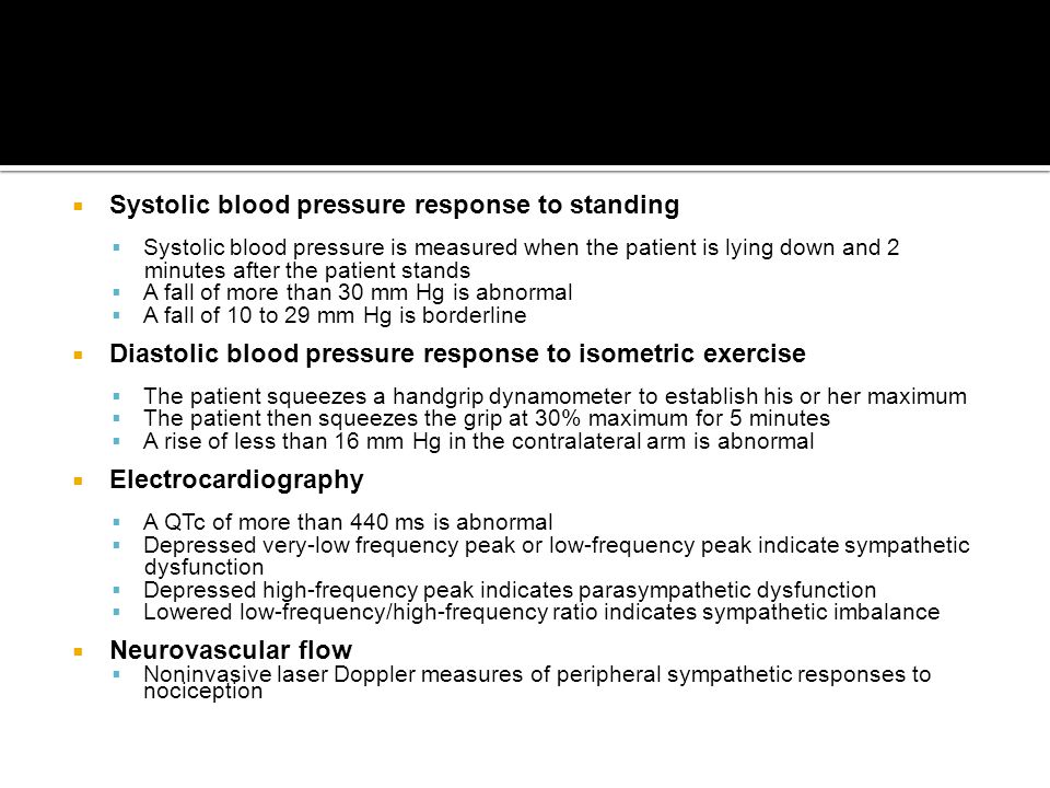 Systolic blood pressure response to standing