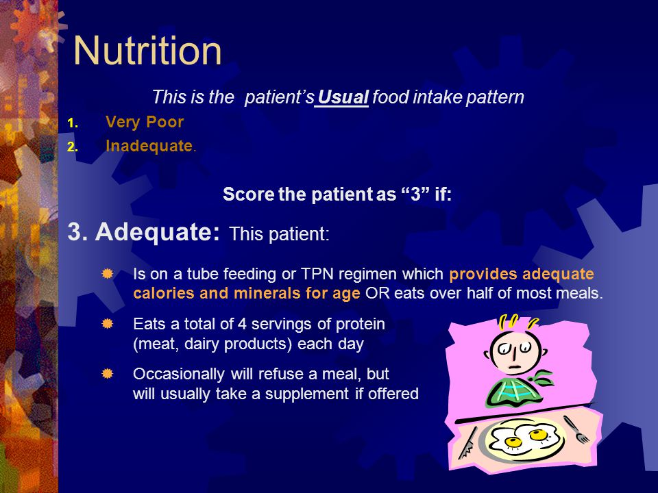 Nutrition 3. Adequate: This patient: