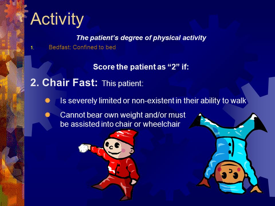 The patient's degree of physical activity