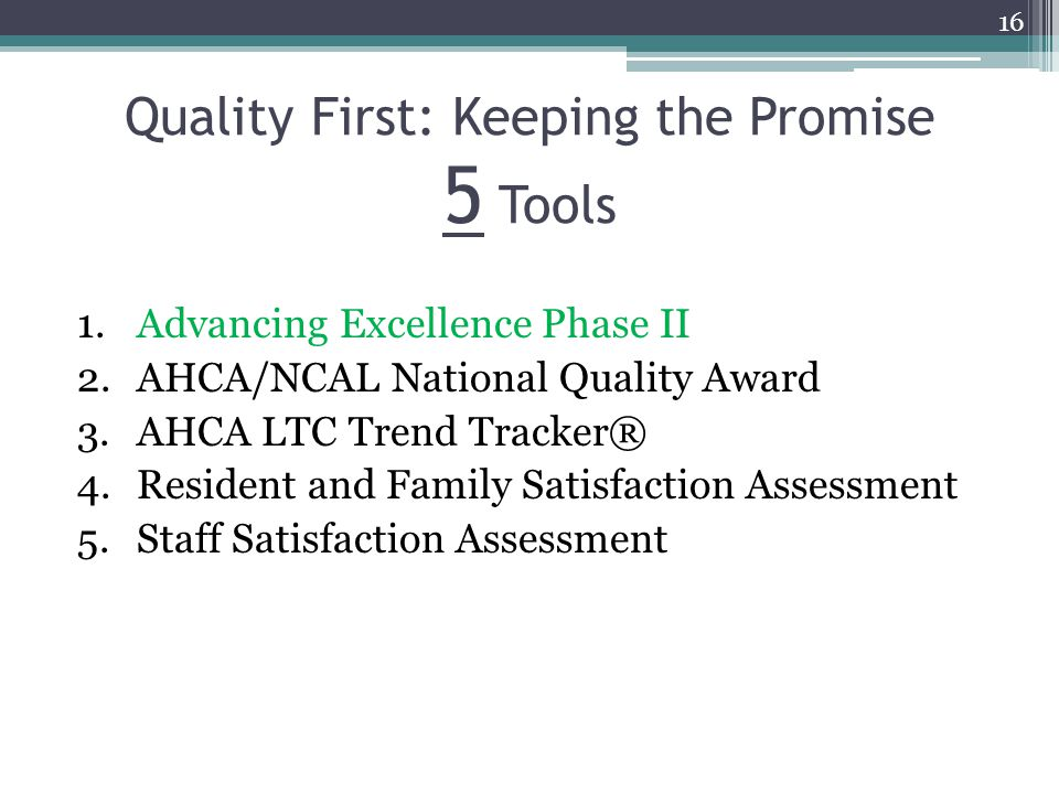 Quality First: Keeping the Promise 5 Tools