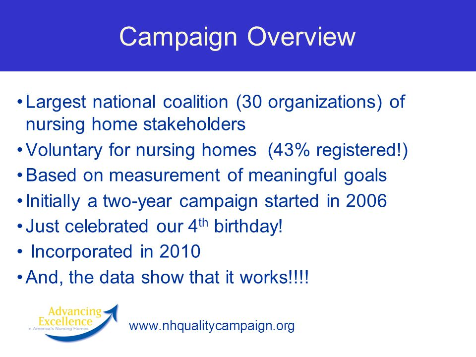 Campaign Overview Largest national coalition (30 organizations) of nursing home stakeholders. Voluntary for nursing homes (43% registered!)