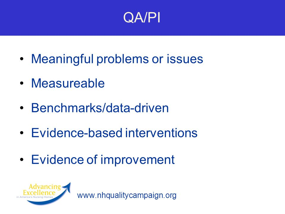 QA/PI Meaningful problems or issues Measureable Benchmarks/data-driven