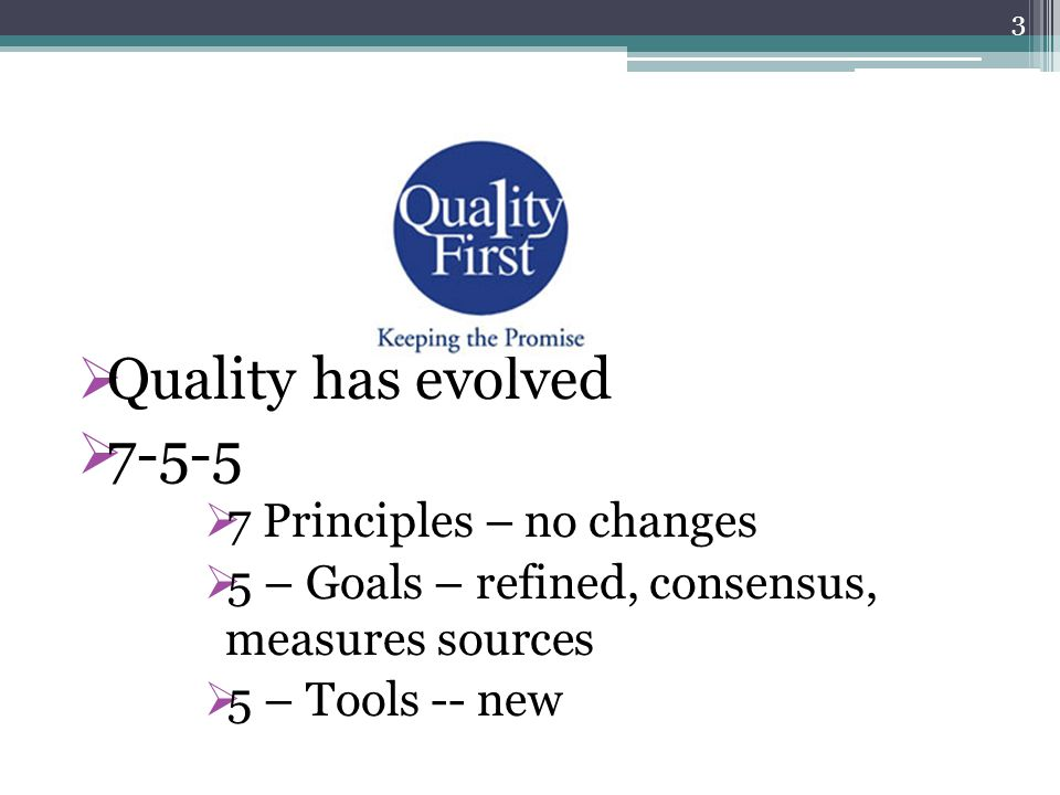 Quality has evolved 7-5-5 7 Principles – no changes