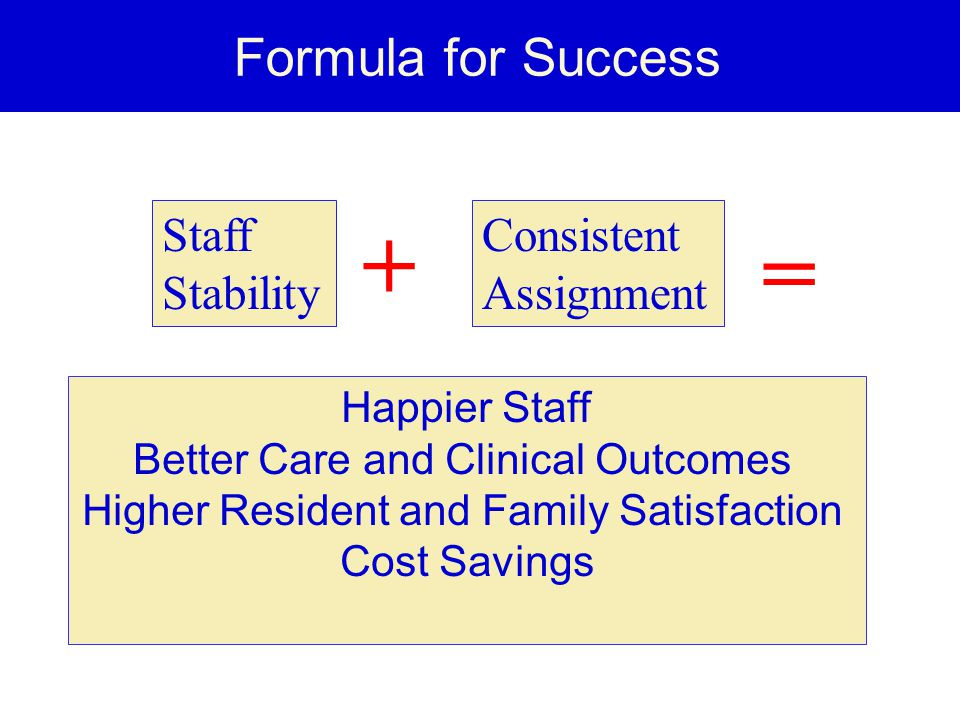 + = Formula for Success Staff Stability Consistent Assignment