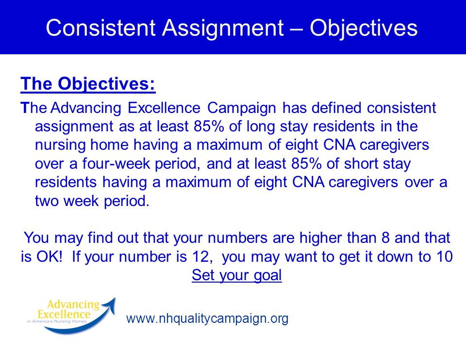 Consistent Assignment – Objectives