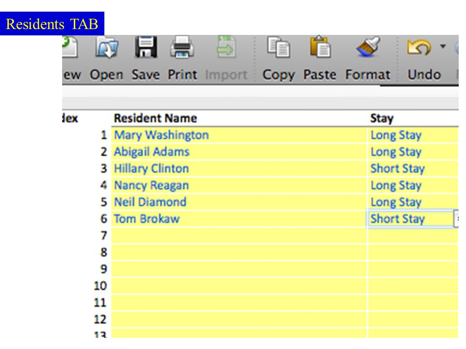 Residents TAB