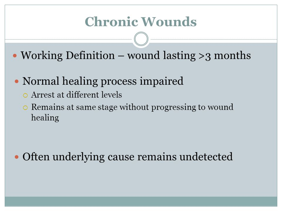 Chronic Wounds Working Definition – wound lasting >3 months