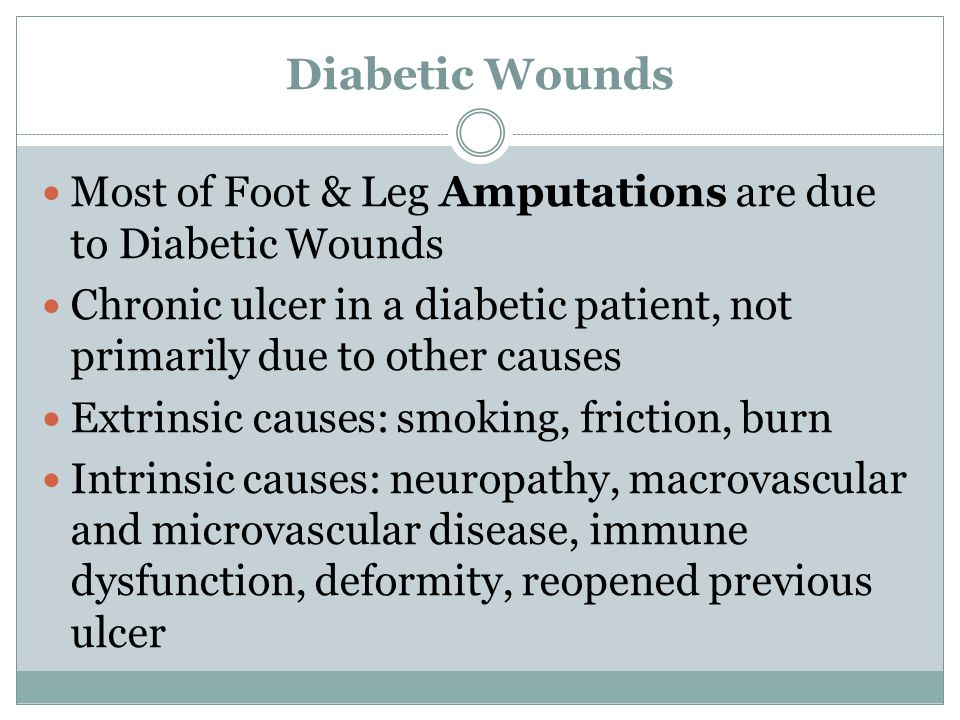 Diabetic Wounds Most of Foot & Leg Amputations are due to Diabetic Wounds. Chronic ulcer in a diabetic patient, not primarily due to other causes.