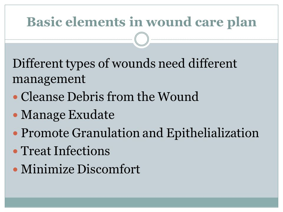 Basic elements in wound care plan