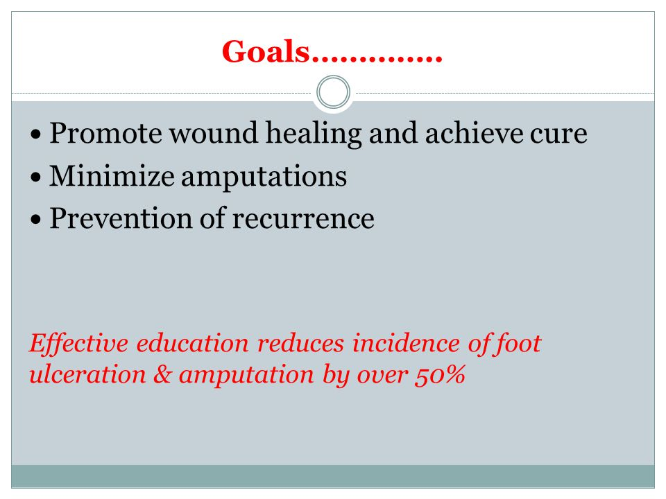 Goals………….. Promote wound healing and achieve cure