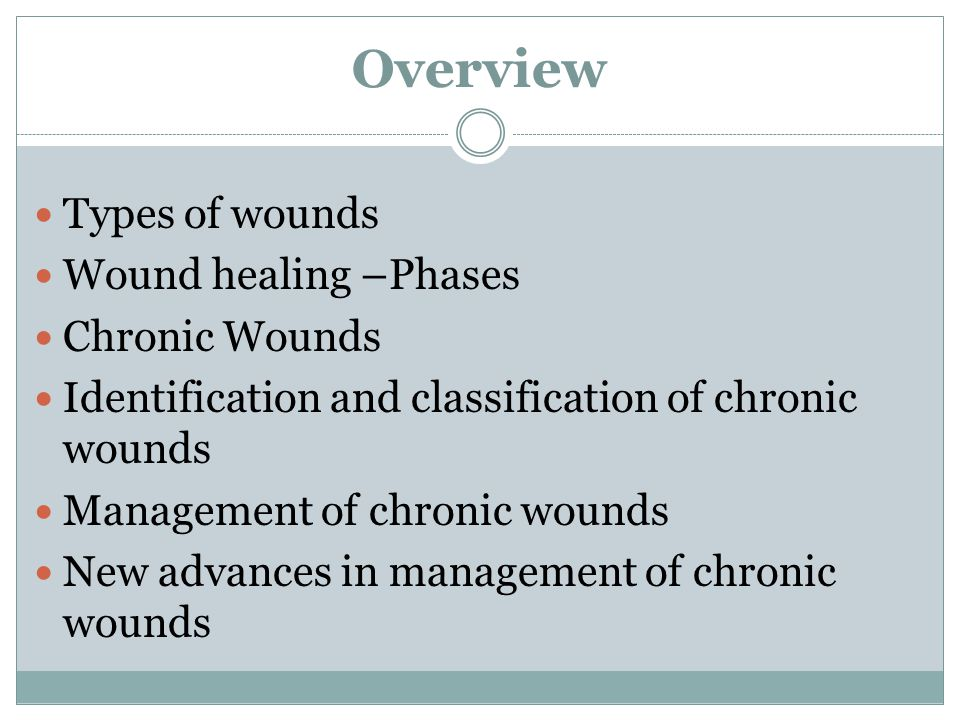 Overview Types of wounds Wound healing –Phases Chronic Wounds